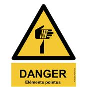 Panneau Attention Danger Risque Eléments pointus - Dos Autocollant - Norme ISO NF 7010