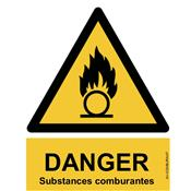 Panneau Attention Danger Substances Comburantes - Dos Autocollant - Norme ISO NF 7010