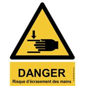 Panneau Attention Danger Risque d'écrasement des Mains - Dos Autocollant - Norme ISO NF 7010