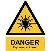 Panneau Attention Danger Rayonnement laser - Dos Autocollant - Norme ISO NF 7010