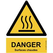 Panneau Attention Danger Surfaces chaudes - Dos Autocollant - Norme ISO NF 7010