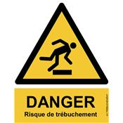 Panneau Attention Danger Risque de Trébuchement - Dos Autocollant - Norme ISO NF 7010