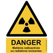Panneau Attention Danger Risque Matières Radioactives ou Radiation Ionisantes - Dos Autocollant - Norme ISO NF 7010