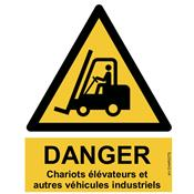 Panneau Attention Danger Chariots Elévateurs - Dos Autocollant - Norme ISO NF 7010