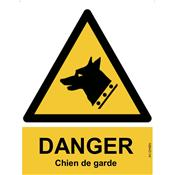 Panneau Attention Danger Chien de Garde - Dos Autocollant - Norme ISO NF 7010