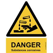Panneau Attention Danger Substances corrosives - Dos Autocollant - Norme ISO NF 7010