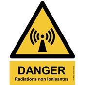 Panneau Attention Danger Radiations non ionisantes - Dos Autocollant - Norme ISO NF 7010