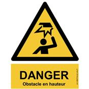 Panneau Attention Danger Risque Obstacle en hauteur - Dos Autocollant - Norme ISO NF 7010
