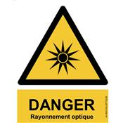 Panneau Attention Danger Rayonnement Optique - Dos Autocollant - Norme ISO NF 7010