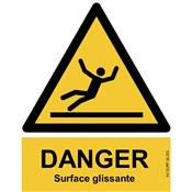 Panneau Attention Danger Surface Glissante - Dos Autocollant - Norme ISO NF 7010