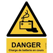 Panneau Attention Danger Charge de Batterie en Cours - Dos Autocollant - Norme ISO NF 7010
